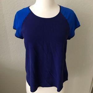 Diane Von Furstenberg Blue Color Black Silk Top S